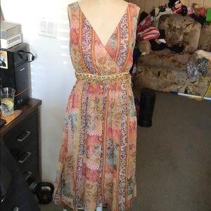 Kay Unger silk metallic print dress size 8 NWT